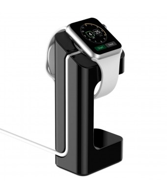 Apple Watch Stand - iClever [Charging Dock] Apple Watch Charging Stand for 38 / 42 mm All Models, Convenient Viewing Angle (2015)- Black