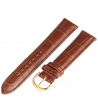 Voguestrap TX45318HN Allstrap 18mm Honey Regular-Length Tile Crocodile Calf Watchband, Gold buckle