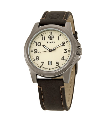 Timex Men's EXPEDITION Metal Field Analog Brown Leather Strap Watch #T46191