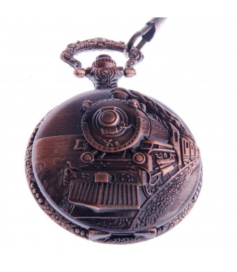 Pocket Watch Railroad Embossed Case Arabic Numerals with Chain Full Hunter Vintage Steampunk Design PW-31
