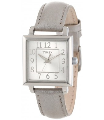Timex Women's T2P0952M Square Dial, Metallic Taupe Leather Strap Watch