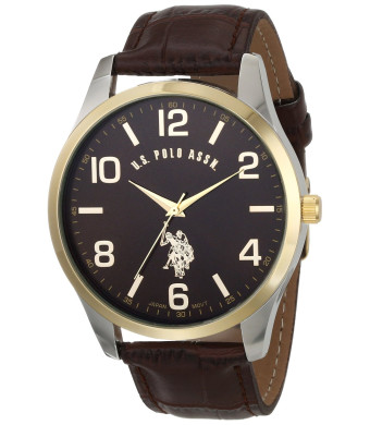 U.S. Polo Assn. Classic Men's USC50225 Watch with Brown Leather Band