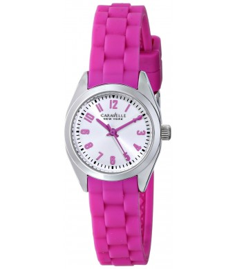 Caravelle New York Women's 43L175 Silver-Tone Watch with Pink Rubber Band