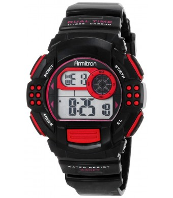 Armitron Women's 45/7044PNK Pink Accented Digital Chronograph Black Resin Strap Watch