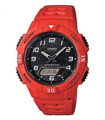 Casio Men's AQ-S800W-4BVCF Solar-Power Red Resin Watch