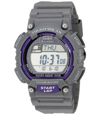 Casio Men's STL-S100H-8AVCF Digital Solar-Powered Gray Stainless Steel Watch with Gray Resin Band
