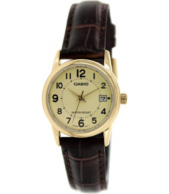 Casio Women's LTPV002GL-9B Brown Leather Quartz Watch