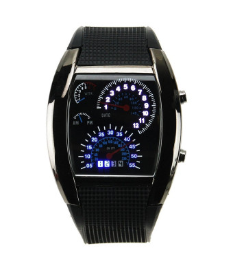 Hiwatch TM Digital Led Watches Cool Car Meter Dial Unisex Blue Flash Dot Matrix LED Racing Watch With Gift Box -2 Years Warranty