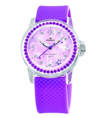 PASNEW Girls Watch, Womens Watches, Ladies Watches, Jewelry Watches, Waterproof Watch 418 Purple
