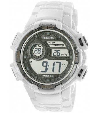 Armitron Sport Men's 40/8347WHT Silver-Tone Accented Digital Chronograph White Resin Strap Watch