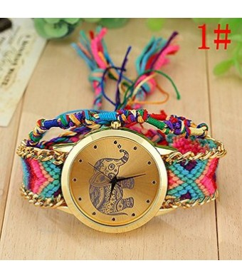 2015 New Arrival Beautiful Fashion Handmade Women/gril Geneva Bracelet Watch Elephant Golden Chain Watche(color 1#)
