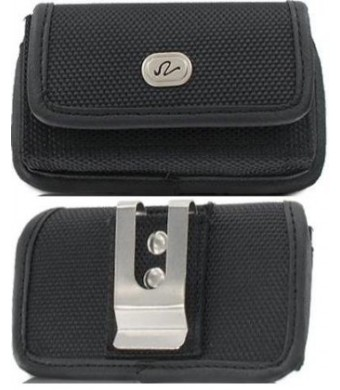 Heavy Duty Small Smart Phone/ iPhone 3G / 3Gs / iPhone 4 / 4S size Nylon Horizontal Cell Phone Case / Pouch / Holster with Metal Belt Clip and Velcro