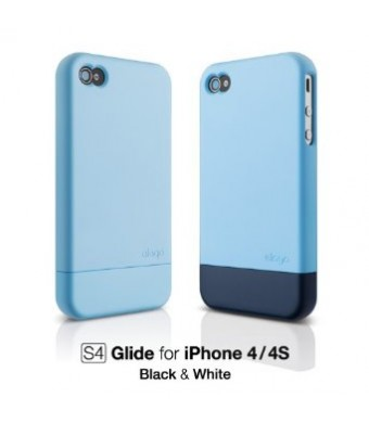 elago S4 Glide Case for ATandT and Verizon iPhone 4 - Soft Feeling Pastel Blue + Extra Bottom Clip + Front Protection Film + Back Protection Film inc