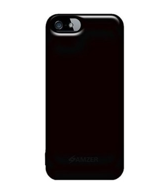 Amzer Soft Gel TPU Gloss Skin Fit Case Cover for Apple iPhone 5, iPhone 5S (Fits All Carriers) - Black