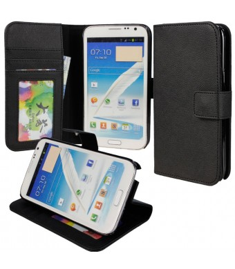 Note 2 Case, Abacus24-7 Note 2 Wallet Case [Book Fold] Leather Galaxy Note 2 Flip Cover with Foldable Stand, Pockets for ID, Credit Cards - Black Fli