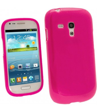 iGadgitz Hot Pink Glossy Durable Crystal Gel Skin (TPU) Case Cover for Samsung Galaxy S3 III Mini I8190 Android Smartphone Cell Phone + Screen Protec