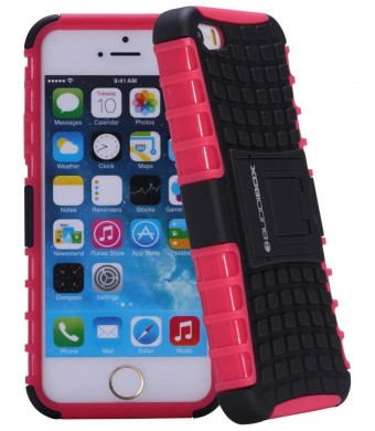 iPhone 5s Case - BUDDIBOX iPhone 5s case Dual Layer Robust Kickstand Carrying Case for iPhone 5 / 5s with HD Screen Protector (Pink)