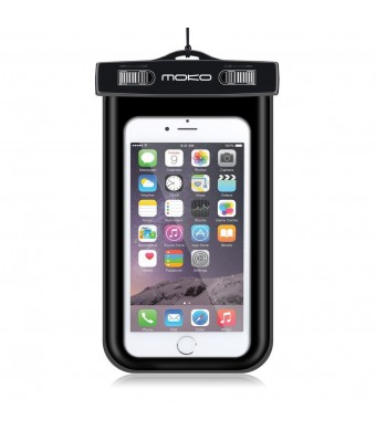 MoKo Universal Waterproof Case With Armband and Neck Strap for iPhone 6 / 6 Plus / 5 / 5S / 4 / 4S, Samsung Galaxy S6 / S6 Edge / S5 / S4 / S4 Active