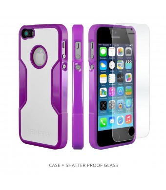 iPhone 5s Case, Purple White With [Tempered Glass Screen = Best LCD Protector] [Patented Lens Hood = Better Pictures] - Slim iPhone 5 Cases by Sahara