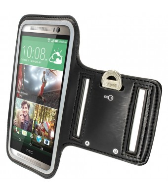 iGadgitz Reflective Anti-Slip Black Sports Jogging Gym Armband for HTC One M8 (2014) With Key Slot
