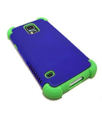 Cell-Nerds NerdShield GRIP Case and Anti-Glare Screen Protector for Samsung Galaxy S5 (Blue on Lime)