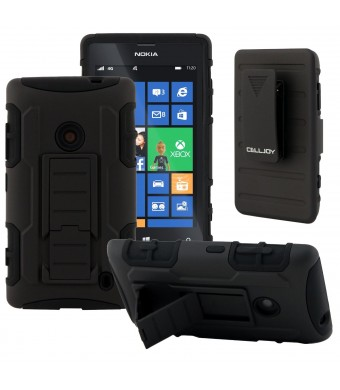 Nokia Lumia 520 Case, CellJoy [Future Armor] (Stealth Black) Hybrid Ultra Fit Dual Protection **Kick Stand** Cover Skin with Belt Clip Holster For No