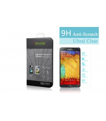 iFlash Premium Tempered Glass Screen Protector: Crystal Clear and Bubble Free 0.3mm thickness edition - For Samsung Galaxy NOTE3 / N9000 - Retail Pac