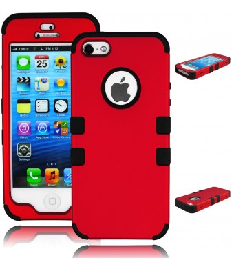 Bastex Heavy Duty Hybrid Case for Apple iPhone 5, 5g, 5s, 5th Generation - Black Silicone Gel Cover / Red Hard Plastic Shell