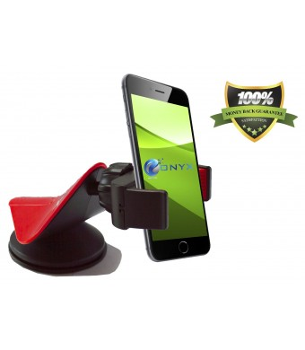 #1 Cell Phone Car Mount - Onyx EasyGrip Smartphone Cradle - Universal Windshield, Dashboard and Desk Holder (Red and Black) - Designed to Fit the New