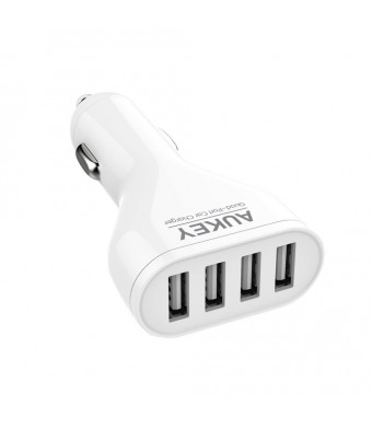 Aukey 48W/9.6A 4 Port USB Car Charger Adapter with AI Power Tech - Retail Packaging - White