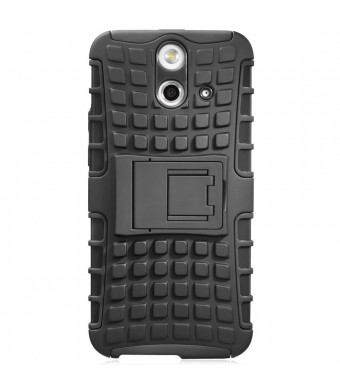 Fosmon [RUGGED] HTC One (E8) 2014 Case - HYBO-RAGGED Heavy Duty Hybrid Protective Cover with Kickstand (Black)