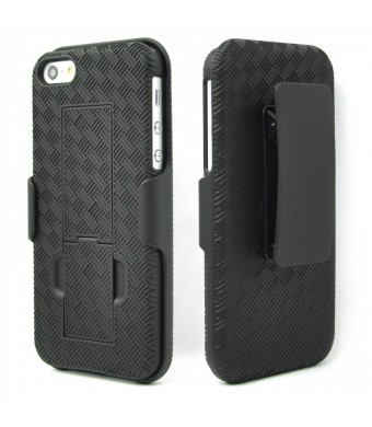 WizGear Shell Holster Combo Case for iPhone 5/5s with Kick-Stand and Belt Clip - Retail Packaging - Black