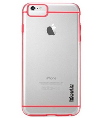 iPhone 6 Case - Poetic iPhone 6 Case [Atmosphere Series] - [Lightweight] [Slim-Fit] Slim-Fit Tranparent Hybrid Case for Apple iPhone 6 4.7 Clear/Red