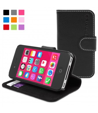 Snugg iPhone 4 / 4s Case - Leather Wallet Case with Lifetime Guarantee (Black) for Apple iPhone 4 / 4s