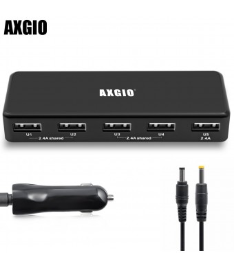 Axgio PowerSlot L5U 5-Port USB Rapid Fast Car Charger Adapter 36W DC 12-24V For iPhone 6 Plus 5s 5c 5, iPad Air mini, Galaxy S5 S4, Note 3 2, HTC One