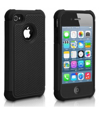 Pasonomi iPhone 4 Case-Premium Heavy Duty Hybrid Shockproof Durable Bumper Armor Cover for Apple iPhone 4S/4(Black)
