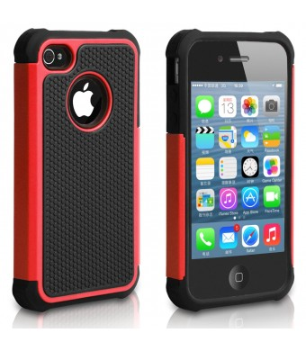 Pasonomi iPhone 4 Case-Premium Heavy Duty Hybrid Shockproof Durable Bumper Armor Cover for Apple iPhone 4S/4(Red)