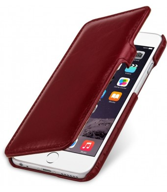 StilGut Book Type Leather Case with Clip for Apple iPhone 6 (4.7''), Wine Red