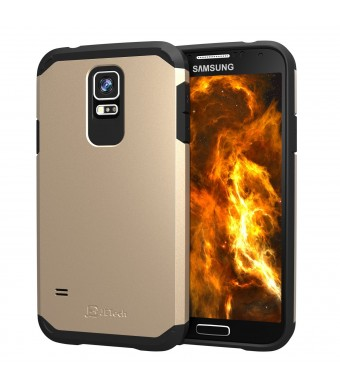 S5 case, JETech Super Protective Samsung Galaxy S5 Case Slim Ultra Fit for Galaxy S5 / Galaxy SV / Galaxy S V (Two-Layer Champagne Gold)