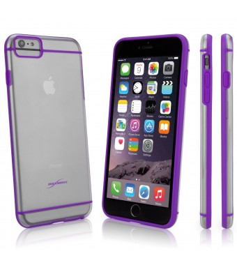 BoxWave SimpleElement Apple iPhone 6 Plus Cover - Ultra Low Profile Grey and Semi-Transparent Protective Hard Case (Purple)