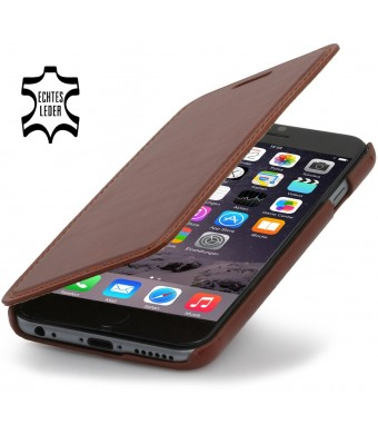 StilGut Book Type Leather Case without Clip for Apple iPhone 6 (4.7''), Cognac Brown