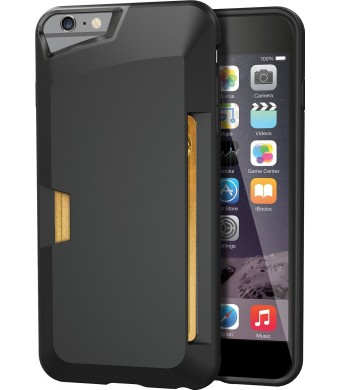 """iPhone 6 Plus Wallet Case - Vault Slim Wallet for iPhone 6 Plus (5.5"""" ) by Silk - Ultra Slim Protective Credit Card Carrying Cover (Midnight Black)"""