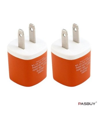 PASBUY W3/Orange 2 Sets of Universal USB AC Wall Chargers For Apple, Samsung, Htc, Motorola, LG, Nokia, Sony Phones, MP3 GPS and Any Devices