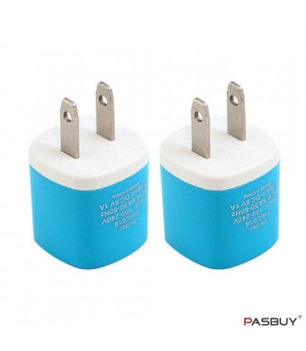 PASBUY W3/Sky Blue 2 Sets of Universal USB AC Wall Chargers For Apple, Samsung, Htc, Motorola, LG, Nokia, Sony Phones, MP3 GPS and Any Devices