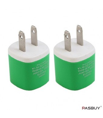 PASBUY W3/Green 2 Sets of Universal USB AC Wall Chargers For Apple, Samsung, Htc, Motorola, LG, Nokia, Sony Phones, MP3 GPS and Any Devices