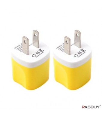 PASBUY W2/Yellow 2 Sets of Universal USB AC Wall Chargers For Apple, Samsung, Htc, Motorola, LG, Nokia, Sony Phones, MP3 GPS and Any Devices
