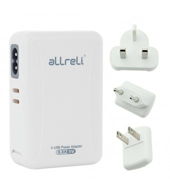 aLLreli 34W / 6.8A 4 Port Portable USB Wall Charger with Removeable International UK+EU+US Plug Travel Power Adapter - for iPhone 6 / 6 Plus / 5 / 5S