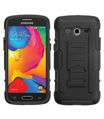 Asmyna Car Armor Stand Protector Rubberized Case for Samsung Galaxy Avant - Retail Packaging - Black