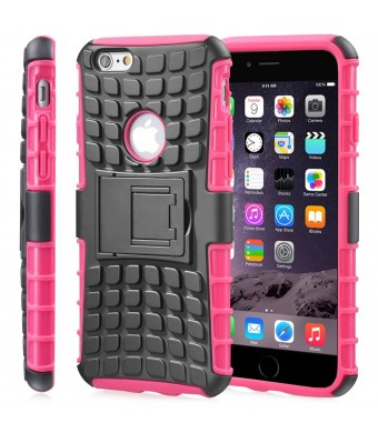 """Fosmon [RUGGED] Apple iPhone 6 Plus (5.5"""" ) Case - HYBO-RAGGED Heavy Duty Hybrid Protective Cover with Kickstand (Hot Pink)"""