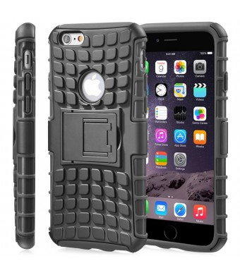 """Fosmon [RUGGED] Apple iPhone 6 Plus (5.5"""" ) Case - HYBO-RAGGED Heavy Duty Hybrid Protective Cover with Kickstand (Black)"""